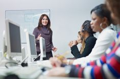 women working in call center stock photo