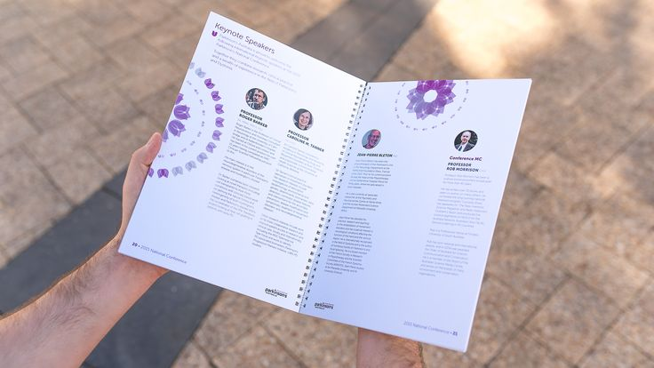 Parkinson's National Conference Handbook 2015 -inside spread, booklet, graphic design, print. Drawcard
