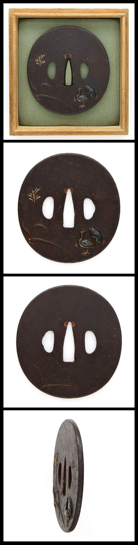 Tsuba:Mei (signature) 'Birds' | Japanese Sword Shop Aoi-Art.