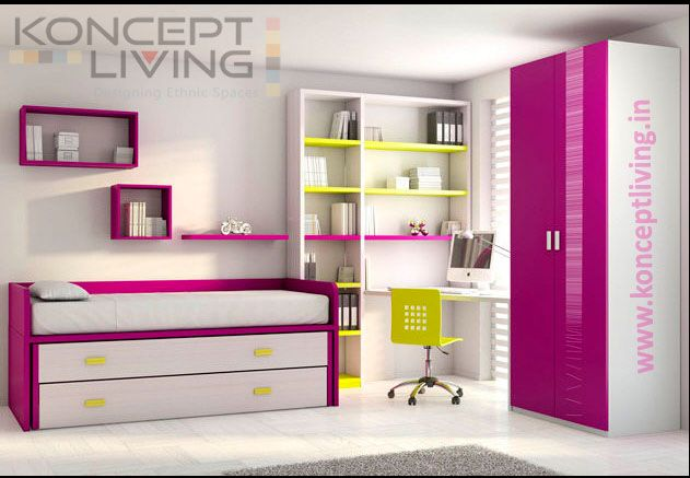 Child's bunk bed with storage cabinets