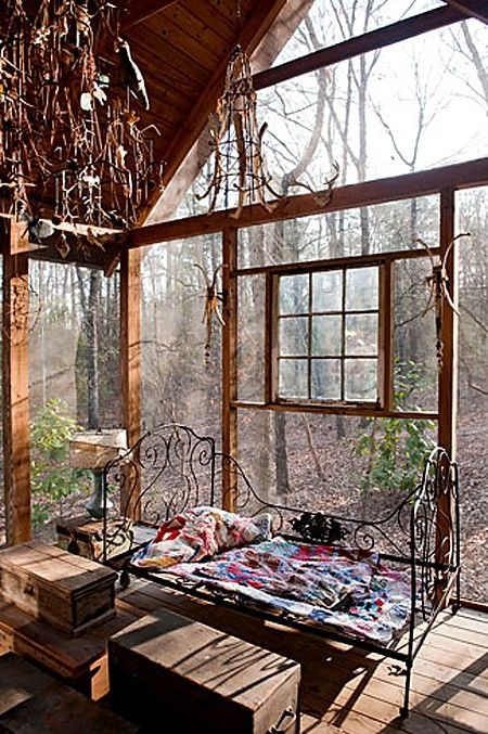 bedroom in the woods . . .