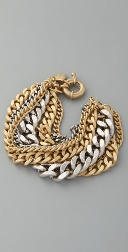 Giles & Brother, Large Multi Chain Bracelet in Silver Oxide/Semi-Bright Gold