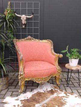 Gave vintage barok fauteuil Queen Anne roze stoel goud