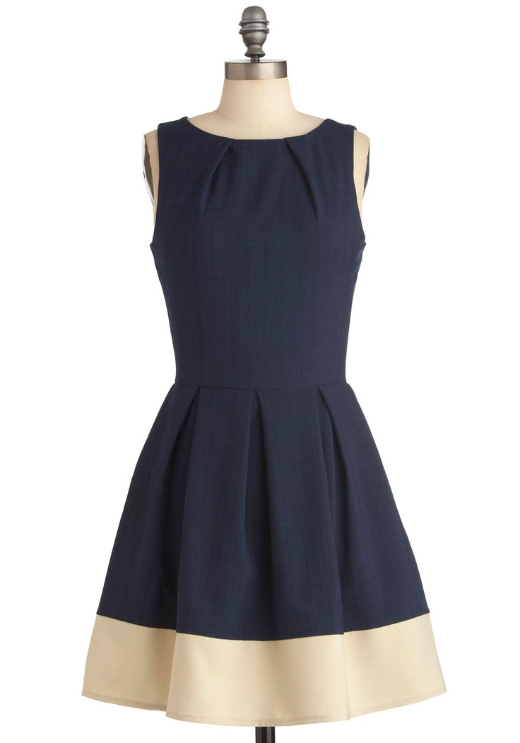 Shoreline Soiree Dress - Mid-length, Blue, Exposed zipper, Pleats, Pockets, A-line, Sleeveless, Tan / Cream, Solid, Casual, Nautical, Fit & Flare, Minimal