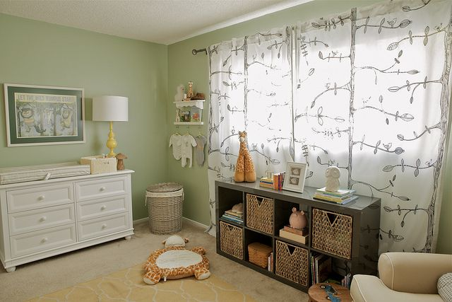 peach, aqua, gray, yellow, sage green nursery by @Irene Lovett, Where the Wild Things Are