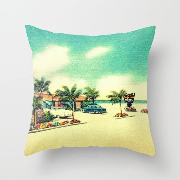 Retro beach motel pillow cover, retro Mom Gift, Mid Century Modern Motel, Swimming Pool pillow 18x18 Gifts For Her Colorful Pillow aqua red by VintageBeach on Etsy https://www.etsy.com/listing/230452603/retro-beach-motel-pillow-cover-retro-mom