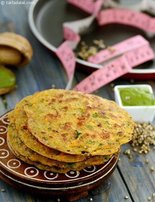 Bajra, Carrot and Onion Uttapa recipe | by Tarla Dalal | Tarladalal.com | #1439