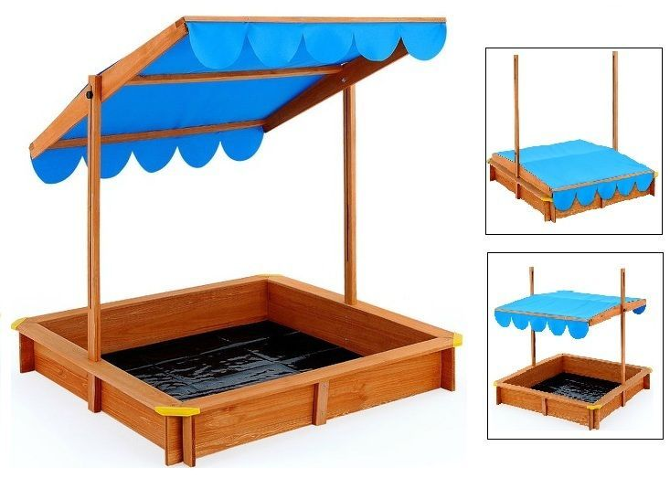 Garden Sandpit Outdoor Kids Play With Roof Canopy Sun Shade Outdoor Sand Box   #Unbranded