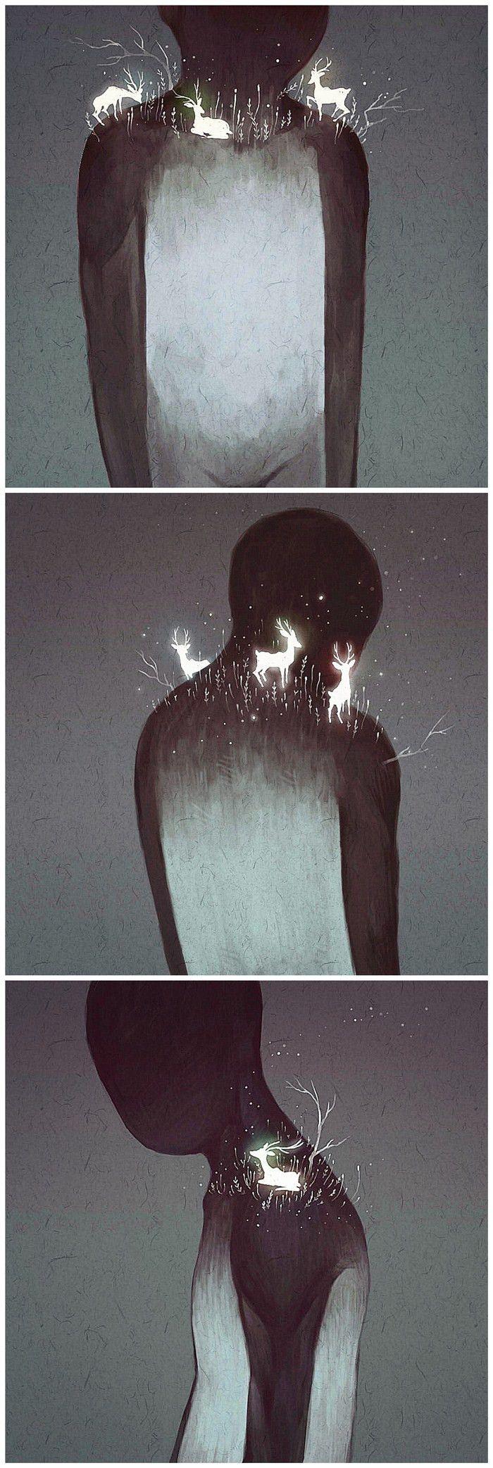 A quiet man - Mountain wood firefly illustration __ Graffiti Kingdom