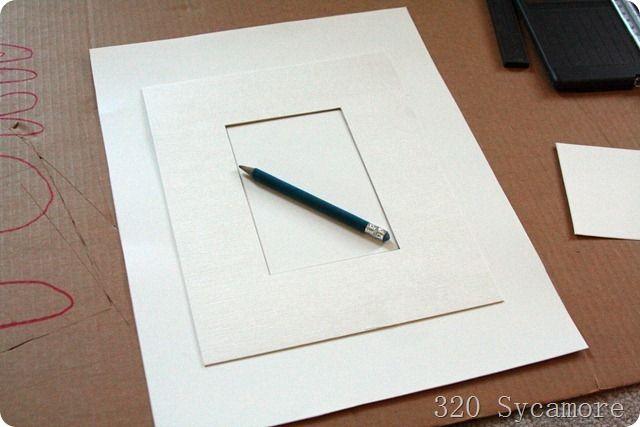 white poster board = cheap photo frame mat