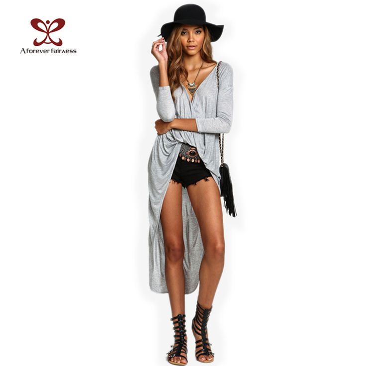 2017 Women Blouse Shirt Sexy V-Neck Cross Fold Dovetail Blusas Feminina Casual Tops Asymmetrical Blouses Long Kimonos Plus Size