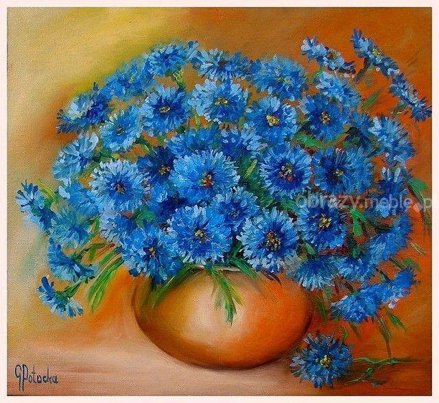 Chabry, kwiaty lata. Kompozycja kwiatowa, obraz ręcznie malowany farbami olejnymi na płótnie, 2015 r., sygnowany, zabezpieczony werniksem, bez oprawy.