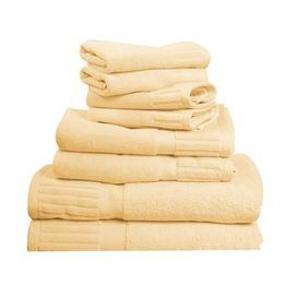 """Set of 8 Turkish cotton towels with ribbed borders.   Product:  2 Bath towels, 2 hand towels  and 4 washcloths Construction Material:  100% Two-ply Turkish cotton Color:  CreamDimensions:  Washcloth:  13"""" x 14"""" eachHand Towel:  20"""" x 32""""  each  Bath Towel:  27"""" x 54"""" each      Cleaning and Care:  Machine wash"""