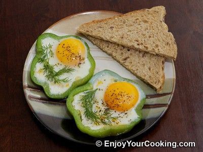 Eggs Fried with Tomato in Bell Pepper Ring | Recipe.  Looking for bright colors for fresh and energetic start of the day? This is your recipe: easy nutritious breakfast eggs and very fun looking also, when prepared accurately. I bet your kids will love ...