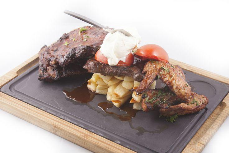 rib steak & wings !! yum!