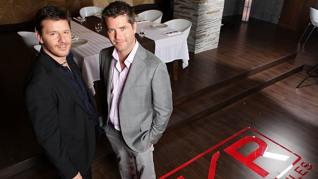 Pete Evans and and fellow My Kitchen Rules judge Manu Feildel.