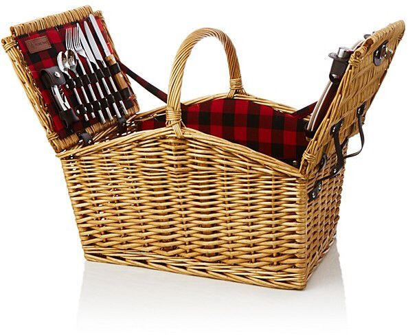 I have always wanted a real picnic basket. This wicker picnic basket set is perfect. #afflink