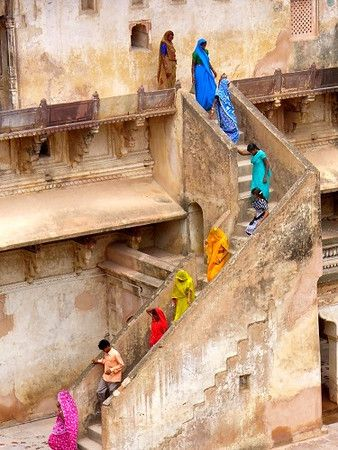 Rainbow of people in India