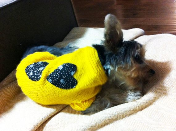 Dog clothes dog jumper bright yellow with black hearts by CUTIEDOG, £12.50