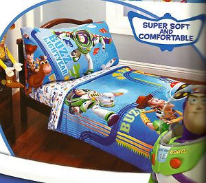 Toy Story Buzz Lightyear Blue 4pc Toddler Bedding Set Crib Bed ...