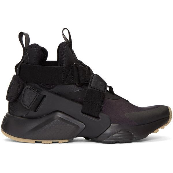 Nike Black Air Huarache City Sneakers ($150) ❤ liked on Polyvore featuring shoes, sneakers, black, black hi tops, black trainers, high-top sneakers, black hi top sneakers and black velcro sneakers