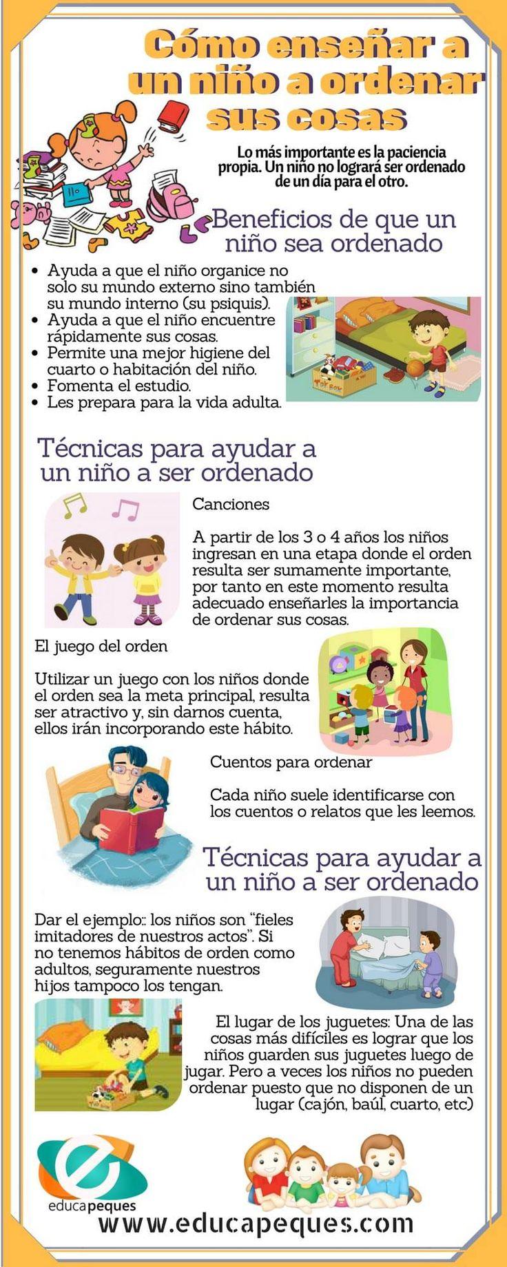 Cómo ayudar a ser ordenado. Infografía educativa con los beneficios y técnicas para ayudar a los niños a ser responsables y ordenar sus cosas