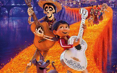 Descargar fondos de pantalla 4k, Coco, 3d-animación de 2017 Película de Disney libre. Imágenes fondos de descarga gratuita