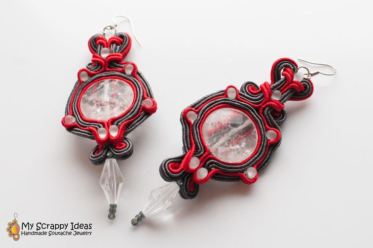 Elegant handmade soutache earrings with moutain crystal. Two-sided original design by Soutache.MyScrappyIdeas.com