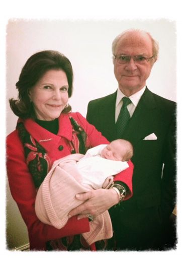 Proud Royal grand parents of Swedish King Carl Gustaf, Queen Silvia and beautiful baby Princess Leonore Lilian Maria.