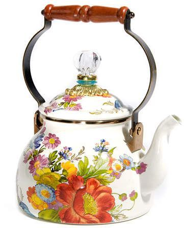 MacKenzie-Childs Flower Market White Two-Quart Tea Kettle #ad #teaparty #teapots