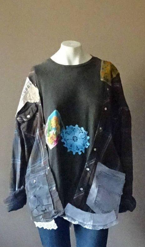 Small Medium Large Pullover Jacket Tunic Upcycled Clothing Fun Kaftan Style Sweatshirt OlliesShimono by OlliesShimono on Etsy