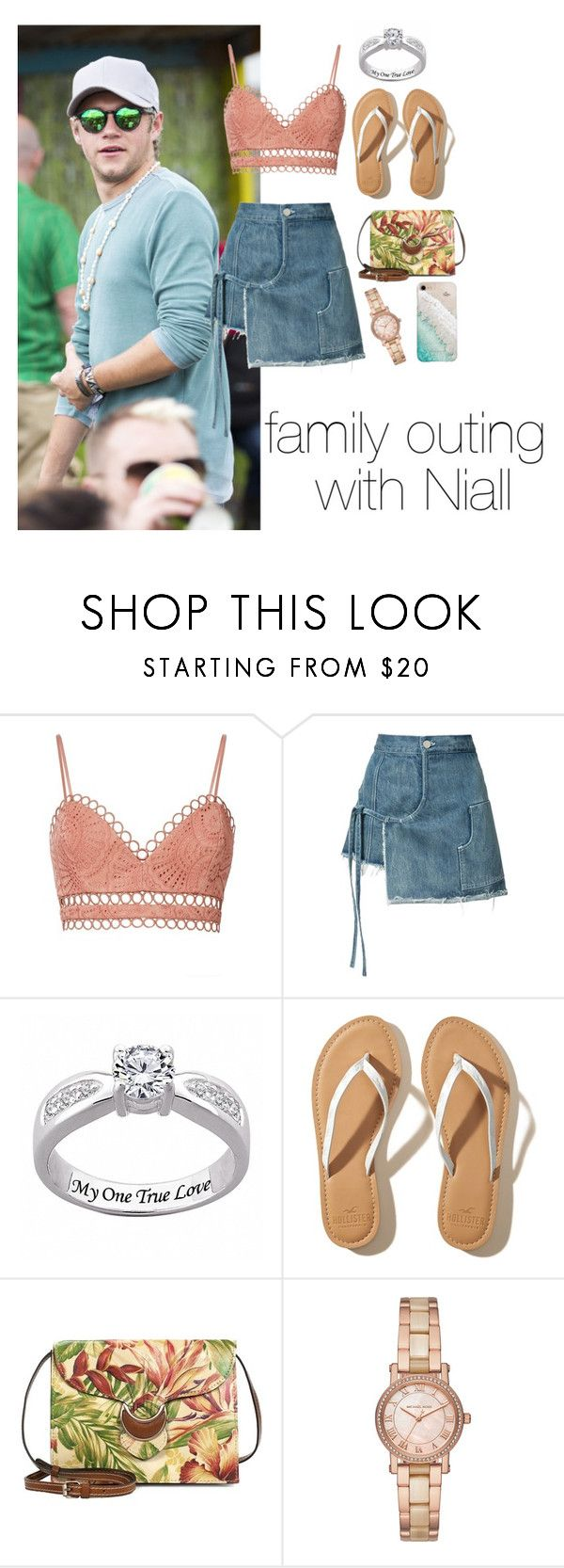 """family outing with Niall"" by haleyssprefrences ❤ liked on Polyvore featuring Zimmermann, Sandy Liang, Hollister Co., Patricia Nash, Michael Kors and Gray Malin"