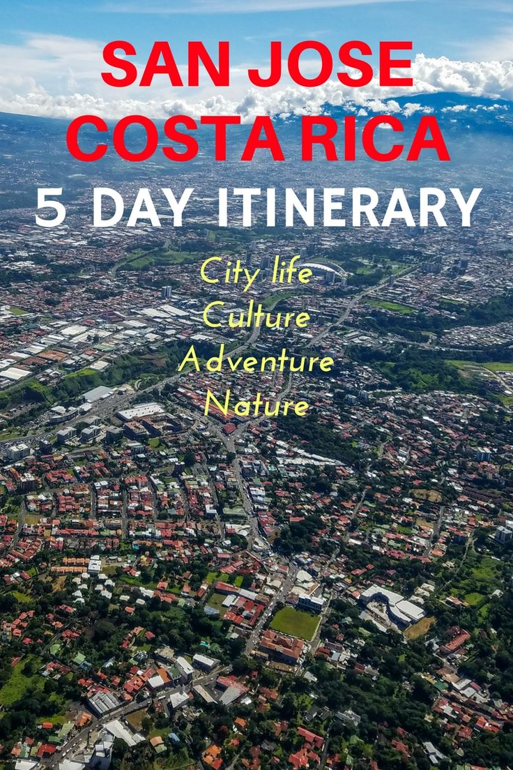 A 5 day itinerary in San Jose, Costa Rica to experience culture, city life, adventure and nature. https://mytanfeet.com/costa-rica-travel-tips/5-day-san-jose-costa-rica-itinerary/
