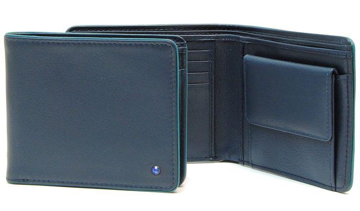 portafoglio da uomo elegante piccolo in pelle blu | Adpel