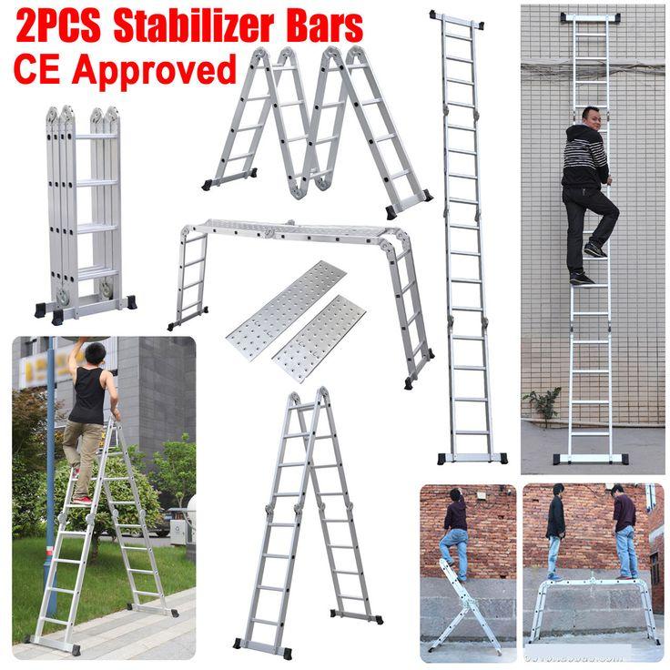 New 330lb 15 5ft Step Platform Multi Purpose Aluminum Folding Scaffold Ladder | eBay