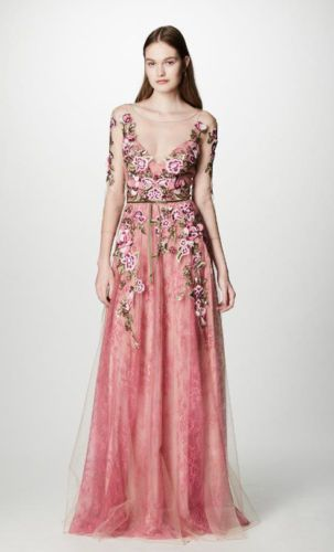 63ee714f 1195-NEW-MARCHESA-NOTTE-Floral-Embroidered-Lace-Gown-Tulle-Coral-Pink-Dress -10