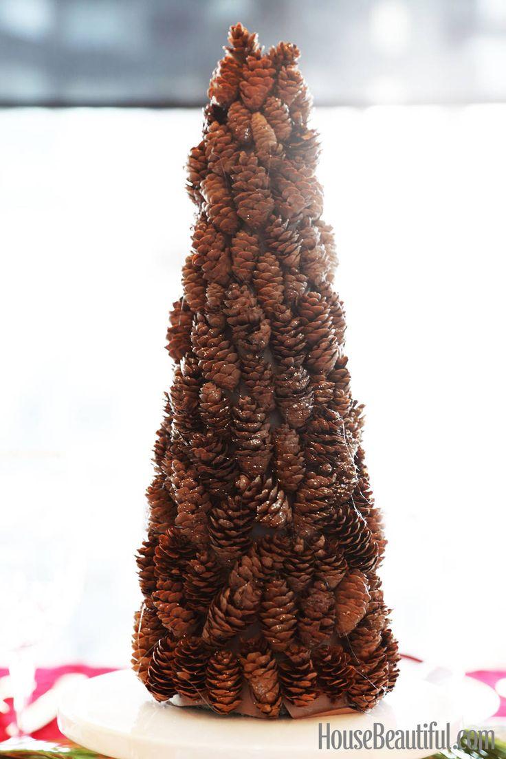 Diy the holidays mini sparkly pinecone tree trees