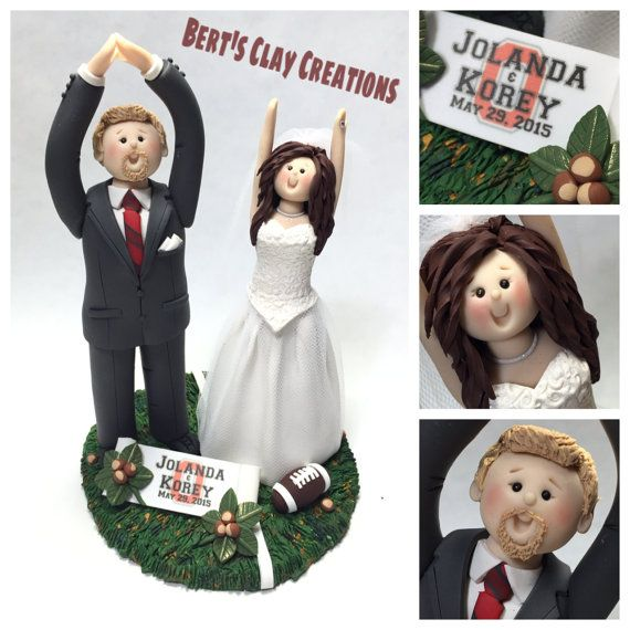 DEPOSIT for Custom Ohio State Wedding Cake by BertsClayCreations (Art & Collectibles, Sculpture, Figurines, cake toppers, custom cake toppers, wedding cakes, toppers, bride and groom, cakes, wedding cake topper, Ohio State, OSU, Ohio State Buckeyes, Ohio State Toppers, Ohio State wedding, OSU wedding)