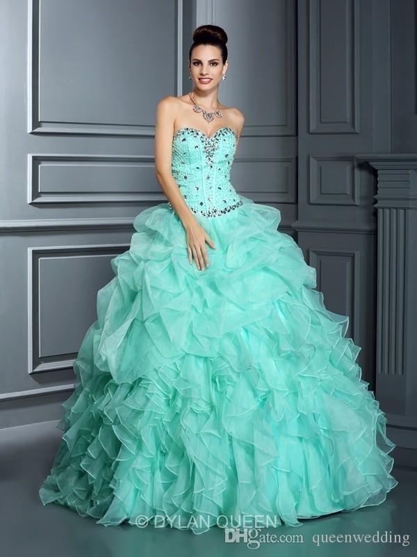 Queenwedding 2015 Mint Quinceanera Ball Gowns Lace Up Quinceanera Dresses 2015 Sweet 16 Dresses Vestidos De Debutante Formal Dresses SX305, $151.84 | DHgate.com
