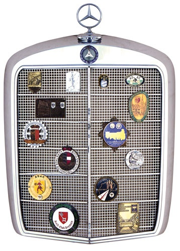 1960's Mercedes-Benz Grille with 14 German club member badges and rally participant plaques from 1920's to 1960's