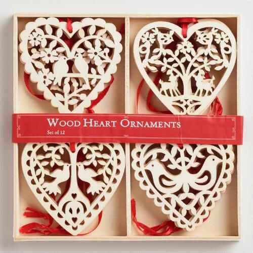 Laser Cut Wood Heart Ornaments