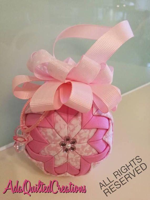 Keepsake quilted newborn girl ornament baby girl quilted
