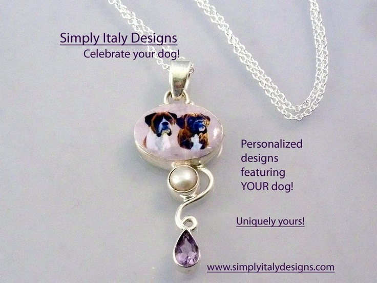 I create Unique designs with YOUR Unique Dog! All  of my designs will be personalized with your dog, horse cat or other love! https://www.facebook.com/SimplyItalyDesigns www.simplyitalydesigns.com