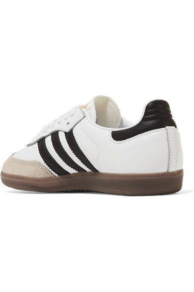 adidas Originals - Samba Suede-trimmed Leather Sneakers - White - US10.5