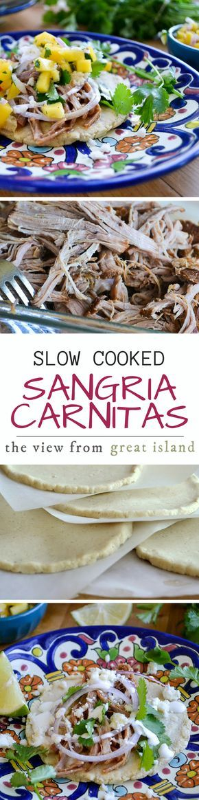 Slow Cooked Sangria Carnitas with Sopes ~ I can't wait to share this recipe with you.  The pork shoulder slow cooks in a sangria based broth and then gets piled onto homemade corn sopes ~ yum!   crock pot   Mexican   Cinco de Mayo   Pork   Homemade tortillas   salsa   dinner