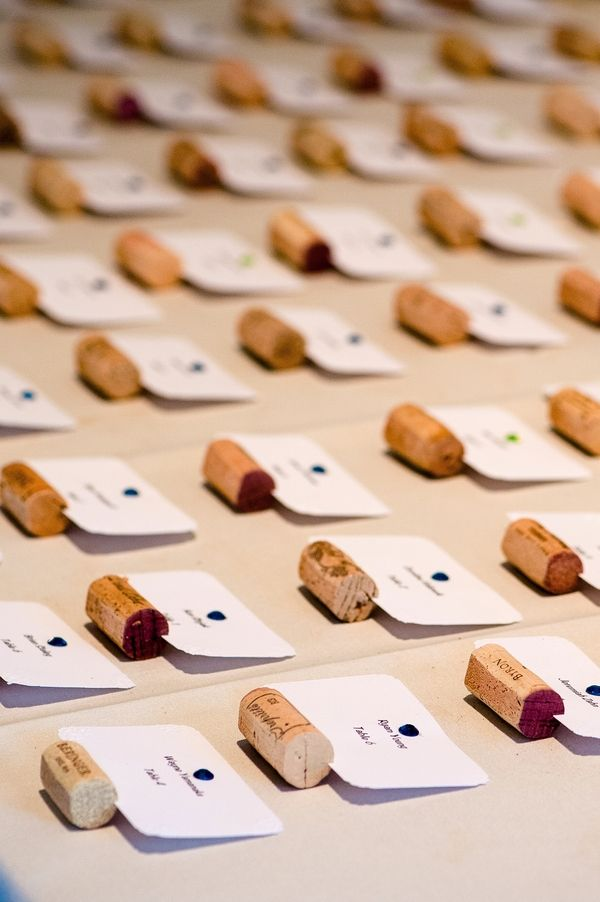diy cork table assignments to go with wine bottle table numbers