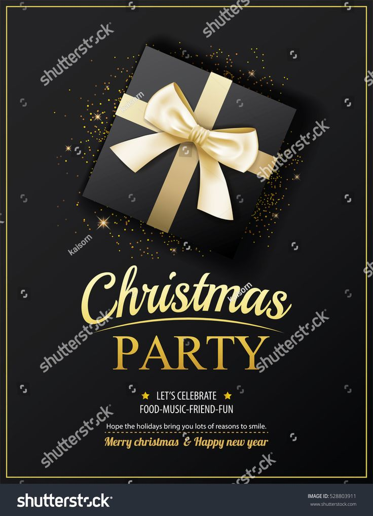 Invitation merry christmas party poster banner and card design template. Happy holiday and new year with gift boxes theme concept.
