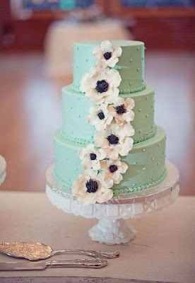 Wedding Cake: pale green with anemones