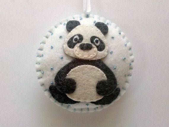 Felt christmas ornament - Panda Bear ornament, snowing ornament/ wool blend felt…