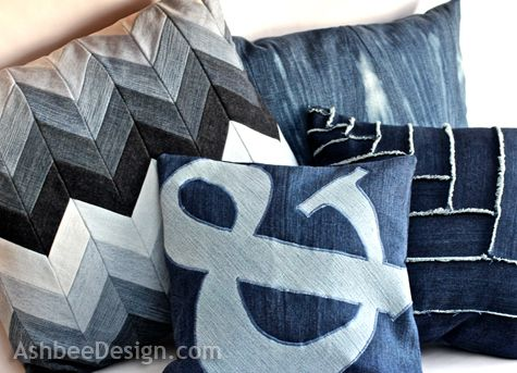 Ashbee Design: Old Jeans Recycled into Ampersand Pillow #4 - Don't care for the ampersand, but basic directions here can be used for any design.